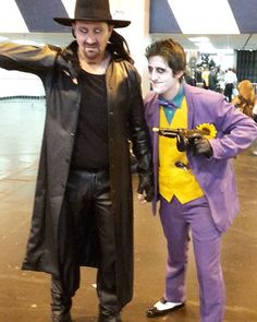 #TheJoker and The Deadman - #theundertaker at #MCMBirmingham #comiccon  #Joker #Undertaker #mcmbhm16 #wwe #wweuniverse #dccomics #Batman #dcuniverse  #wwecosplay #undertakercosplay #jokercosplay #undertakercosplayer #jokercosplayer #cosplay #cosplayer #cosplayers #cosplaying #wrestling #wrestlingcosplay #wrestlercosplay