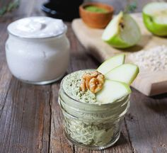 Recipe // Oats + Coconut Yogurt + Water + Matcha + Apple + Walnuts + Lemon Zest + Date