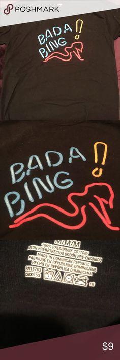 Bada Bing! The Sopranos Shirt Size medium, plain black with print graphic logo Bada Bing! From The Sopranos! Hanes Tops Tees - Short Sleeve