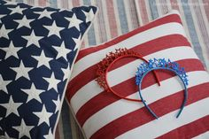Dollar store dog headbands for July4th
