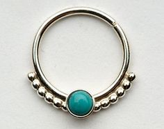 Septum Ring / Nose Ring/ with 1mm balls  and 3mm Turquoise Stone - Gold Filled or sterling Silver 18g, 6mm to 10mm inside dimension