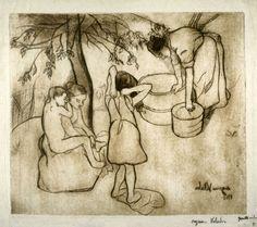 Toilette de deux enfant dans le jardin