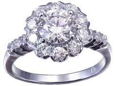 14k white gold round cut diamond engagement ring art by KNRINC, $5399.00