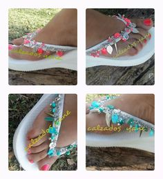 Ojotas Taconas Bordadas,sandalia Plataformas Tipo Havaianas - $ 350,00 en Mercado Libre Blue Jean Purses, Decorating Flip Flops, Wedding Flip Flops, Boho Sandals, Crochet Shoes, Felt Toys, Custom Shoes, Shoe Sale, Flip Flop Sandals