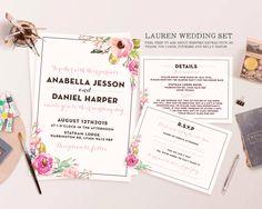 Lauren Modern, Bright Floral Wedding Invitation Set - Customisable. Digital File Only. Printable. by TheFancifulDelights on Etsy https://www.etsy.com/listing/219128279/lauren-modern-bright-floral-wedding