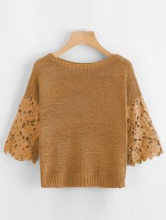 Khaki Hollow Out Crochet Sleeve Boat Neck Sweater