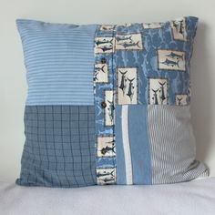 Memory pillow made from four shirts - patchwork style.