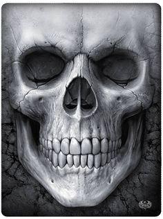 """Solemn+Skull""+Fleece+Blanket+by+Spiral+USA+(Black)"