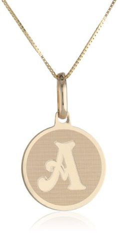 """14k Yellow Gold Initial """"A"""" Pendant Necklace, 18"""""""
