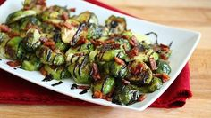 Grilled Brussels sprouts with bacon and drizzled with a balsamic vinegar reduction – the only way to eat them! - I have done this with the balsamic before cooking. Even the kids eat it. Bacon is optional Vegetable Side Dishes, Vegetable Recipes, Chicken Recipes, Veggie Side, Recipe Chicken, Mushroom Recipes, Grilling Recipes, Cooking Recipes, Easy Cooking