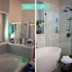Overall, this bathroom was dated, had a few leaks, and felt tight and confined. But after the remodel was complete...