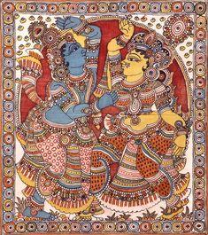 Dancing Radha Krishna, Folk Art Kalamkari Painting on CottonArtist - D. Kalamkari Painting, Madhubani Painting, Silk Painting, Watercolor Paintings, Ancient Indian Art, Indian Folk Art, Krishna Painting, Krishna Art, Kalamkari Designs