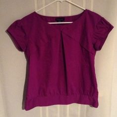 """Cute pleated front top Great work top, clean flattering lines for a modern look, color is purple with pink tones, will fit up to 37.5"""" bust, length is 23.5"""" Apostrophe Tops Blouses"""