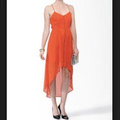Hp 5/26  Orange High Low Zipper Dress