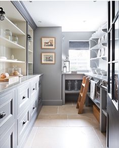 Our favorite Dark Countertops - butlers pantry Kitchen Pantry Design, New Kitchen, Kitchen Decor, Kitchen Maid, Kitchen Interior, Kitchen Storage, Kitchen Grey, Pantry Storage, Pantry Inspiration
