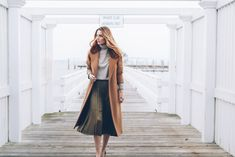 Camel wool coat pleated midi skirt Prosecco and Plaid