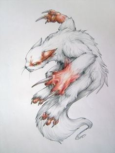 I take a break from drawing traditional art. to draw more traditional art! SOLD Zangoose is the Pokemon of the Month in and it's a favouri. Aliens, Real Pokemon, Monster Tattoo, Pokemon Champions, Pokemon Tattoo, Mudkip, Amazing Drawings, Anime, Art Tutorials