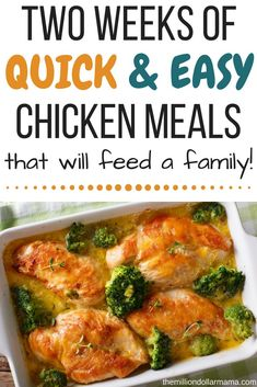Healthy, easy chicken recipes for dinner that will feed a family for two weeks! - Healthy Recipes for two - Dinner Recipes Easy Chicken Dinner Recipes, Healthy Dinner Recipes, Chicken Meals, Yummy Recipes, Beef Meals, Rice Recipes, Keto Recipes, Recipies, Cooking On A Budget