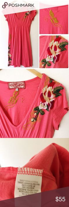 Johnny Was Embroidered Pink Coral V-Neck Dress Very good preowned condition, no flaws. Beautifully embroidered Floral design with butterflies, v-neck, short sleeves, pink coral colored dress by Johnny Was. Johnny Was Dresses