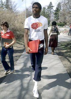 Magic Johnson walking along campus in 1979!