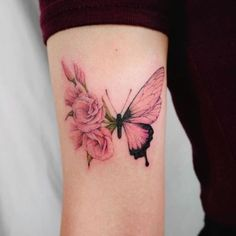 Image about cute in Tattoos by Victoriaa ♡️ on We Heart It Mini Tattoos, Flower Tattoos, Body Art Tattoos, Small Tattoos, Sleeve Tattoos, Rose Tattoos For Women, Butterfly Tattoos For Women, Butterfly Tattoo Designs, Rose And Butterfly Tattoo