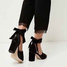 Black velvet block heel sandals - sandals - shoes / boots - women