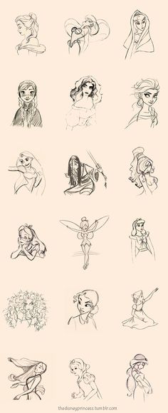 Disney Princess line drawings. Stunning! I wish I could draw.