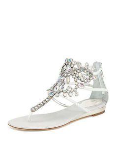 X2FK4 Rene Caovilla Crystal Chandelier Thong Sandal, White Iridescent