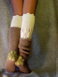 """Купить Шерстяной комплект """"Теплая парочка"""" - бежевый, рисунок, носки, носки ручной работы"""