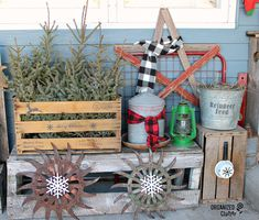 It's time to share my annual rustic Christmas covered patio decor. You will familiar pieces of my garden junk . Christmas Open House, Christmas Cover, Rustic Christmas, Old Crates, Wooden Crates, Wine Crates, Wooden Snowflakes, Vintage Lanterns, Crate Shelves
