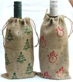 Burlap Wine Bag Burlap Wine Cosy Christmas Wine Sack Wine Gift Bag Rustic Wine Sack