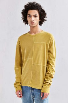 UO Anson Thermal Blocked Long-Sleeve Tee - Urban Outfitters