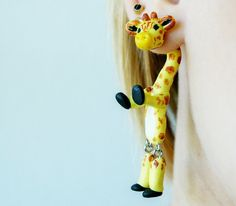 fake gauge plug two part earrings giraffe von JEWELRYandPLEASURE, $17.00