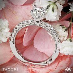 Platinum Tacori Clean Crescent Half Eternity Diamond Engagement Ring