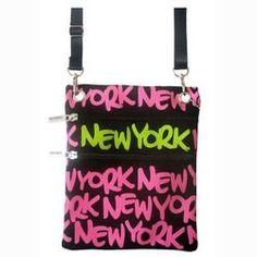 Neon Pink New York Neck Wallet