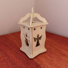 Holiday Christmas & Winter Lantern. DIY wooden lantern. Candle Holder. Vector model for CNC router and laser cutting.