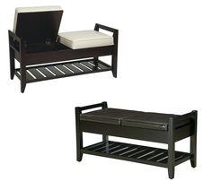 Eco Leather Storage Bench Ottoman w/Slatted Shelf & Cream or Espresso Cushions