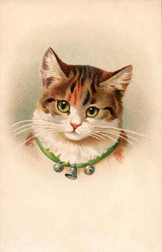 *The Graphics Fairy LLC*: Vintage Pictures - Cute Kitty Cat with Bells cat-cups-n-mugs-n-jewelry-n-stuff-all-things-cats Vintage Pictures, Vintage Images, Cat Embroidery, Gatos Cats, Photo Chat, Image Cat, Graphics Fairy, Cat Cards, Christmas Cats