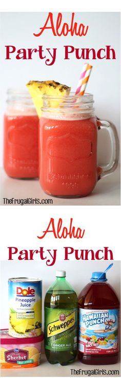 Cool and Easy Beach Party Drinks | Aloha Party Punch by DIY Ready at diyready.com/...                                                                                                                                                                                 Plus