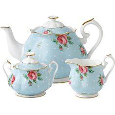 ROYAL ALBERT Polka Blue three-piece tea set ($160) ❤ liked on Polyvore featuring home, kitchen & dining, teapots, english bone china, bone china tea set, tea-pot, royal albert and royal albert tea pot