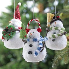 "White Flocked Snowman Ornament 4"""