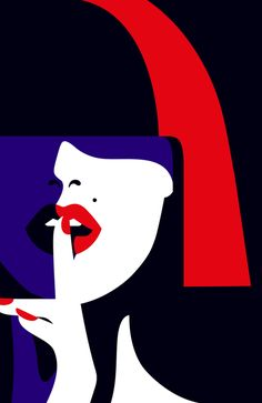 MalikaFavre is a French artist based in London. Her bold, minimal style — often described as Pop Art meets Op Art — is a striking studyin the use of color, and positive andnegative space.    Featured above is artwork created as part of a project pitch for Parisian cabaret, Crazy Horse. Unused and previously unseen.    Further reading: Malika Favre