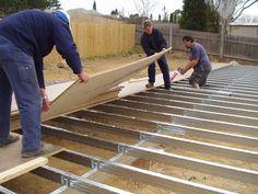 Floor Sheet being installed over a Boxspan steel floor frame. Metal Stud Framing, Steel Framing, Floor Framing, Metal Barn Homes, Pole Barn Homes, Steel Frame Construction, Construction Design, Construction Business, Construction Birthday