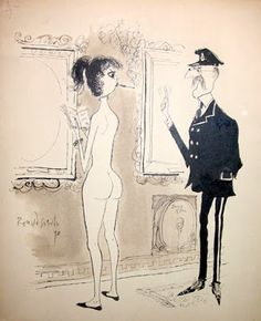 """""""_Sorry, Madam.no smoking in the Museum."""" By Ronald Searle Funny Vintage Ads, Vintage Humor, Caricature, Illustrations, Illustration Art, St Trinians, Ronald Searle, Comic Kunst, Cartoon Sketches"""