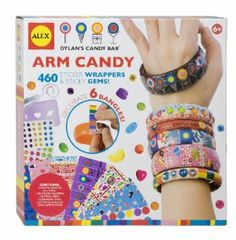 ALEX® Dylan's Candy Bar® Arm Candy by Alex. $14.01. Part of the Dylan's Candy Bar Collection. Easy and stylish. Decorate 6 bangles with stickers and gems. Amazon.com                The Alex Arm Candy bracelet kit lets kids decorate their own bracelets with stickers, jewels, and glitter. Children can use the 400 sticker wrappers to cover the six plastic bracelet blanks with images of rainbows, ice cream, candy, and colorful logos from Dylan's Candy Bar. The stickers wrap aro...