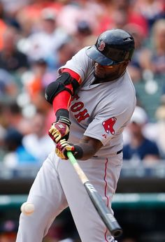 DETROIT, MI - AUGUST 9: David Ortiz #34 of the Boston Red Sox singles to left center field during the third inning of the game against the Detroit Tigers on August 9, 2015 at Comerica Park in Detroit, Michigan. (Photo by Leon Halip/Getty Images) Boston Red Sox Team Photos - ESPN