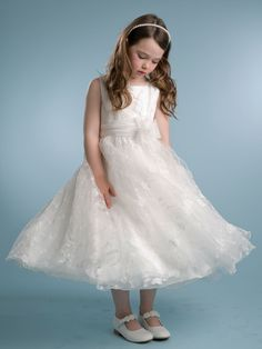 Gorgeous Solid Lace Dress with Sewn Ribbon - Ivory Flower Girl Dresses