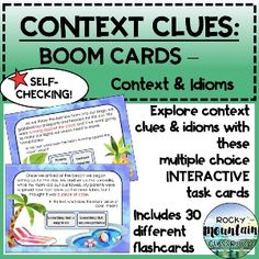 Context Clues, Multiple Choice, Idioms, Upper Elementary, Task Cards, Language Arts, Literacy, Meant To Be, Author