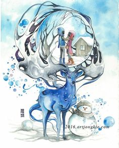 Just You & Me #watercolour #watercolor #art #artwork by #jongkie #bali by jongkie