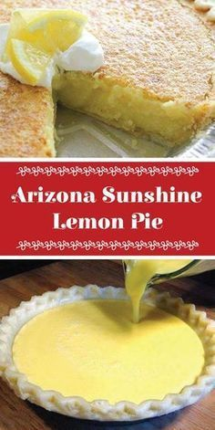 Arizona Sunshine Lemon Pie and this looks so easy Lemon Desserts, Lemon Recipes, Just Desserts, Delicious Desserts, Yummy Food, Appetizer Recipes, Dessert Recipes, Recipes Dinner, Pie Dessert